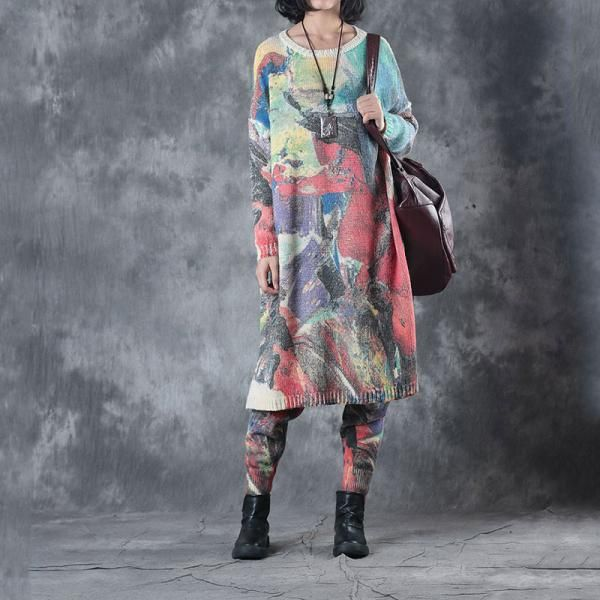 Artistic Printing Colorful  Loose Sweater with Woolen Winter Pants    #sweater #colorful #loose #suits #pants #trousers #wool #colorful #prints #pullovers