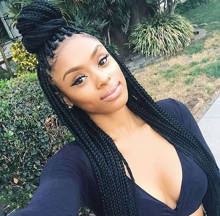 Take The Box Braid Hairstyle Half Up And Half Down With A Top Knot Bun Single Braids Hairstyles Box Braids Hairstyles Braided Hairstyles