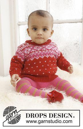 Rubin / DROPS Baby 21-18 - Stickad tröja med nordiskt mönster till baby och barn i DROPS Merino Extra Fine