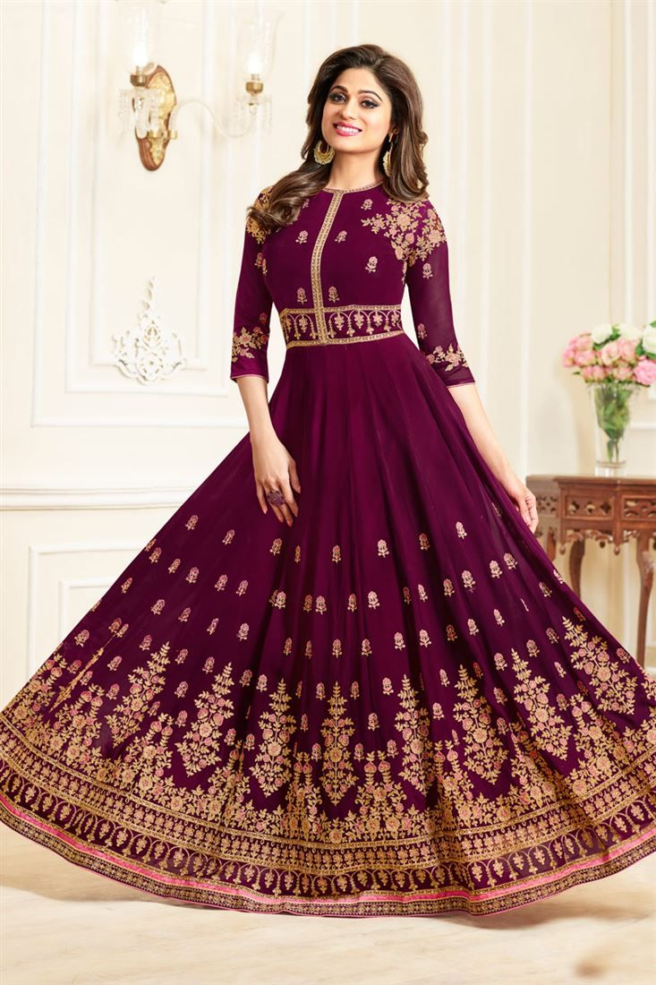 c11785ce16 Online Shopping of Eid Special Shamita Shetty Georgette Purple Designer  Embroidered Anarkali Salwar Suit from SareesBazaar, leading online ethnic  clothing ...