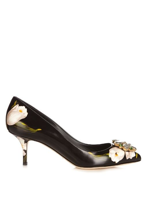 Dolce & Gabbana Crystal-embellished tulip-print leather pumps