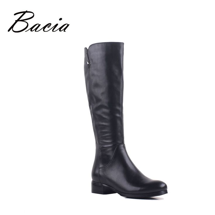 Bacia Real Leather Botas Solid Black Long Winter Boots Warm Natural Wool Fur & Synthetic Shoes Knee-High Handmade Shoes VB099