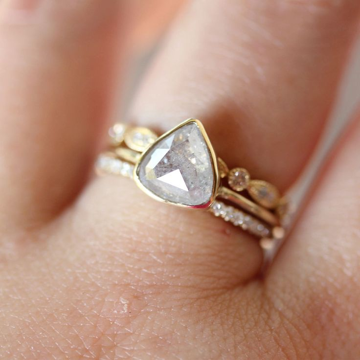 Rose Cut White Translucent Diamond In 14K Yellow Gold Engagement Ring - Ready To Ship. $1,450.00, via Etsy.