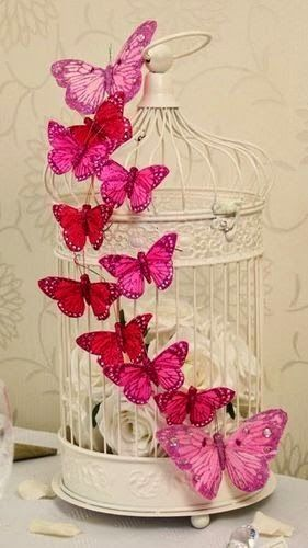 Keep Calm and DIY!: 75 of the Best Shabby Chic Home Decoration Ideas. ❤️I think the butterflies are pretty, but in another shade, maybe a blush or white tipped in glitter.❤️
