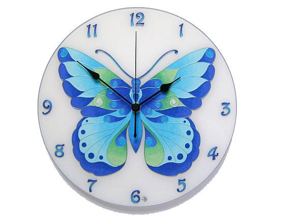 Blue Turquoise Butterfly Large Wall Clock Glass Painting Boho