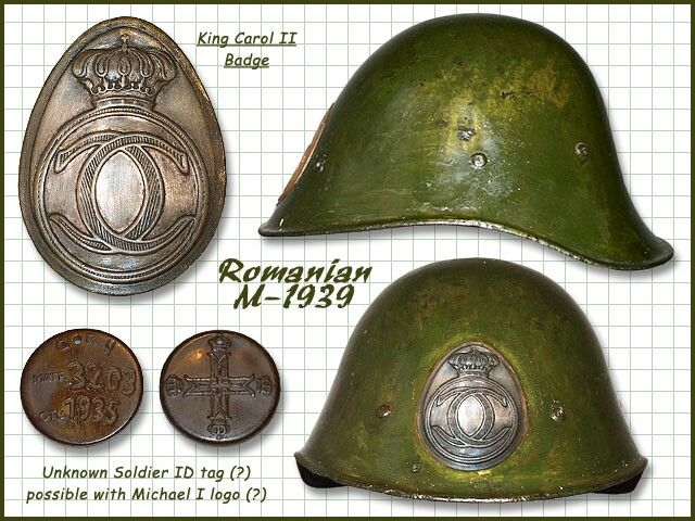 Romanian infantry helmet WWII pin by Paolo Marzioli