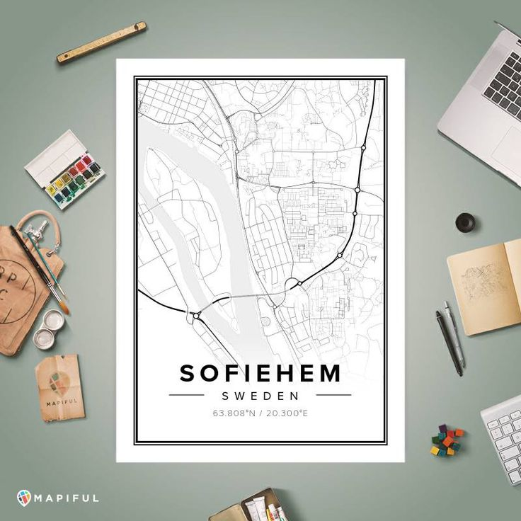A map poster from Mapiful.com. A creative DIY tool to make your own map poster. This is 'Sofiehem'