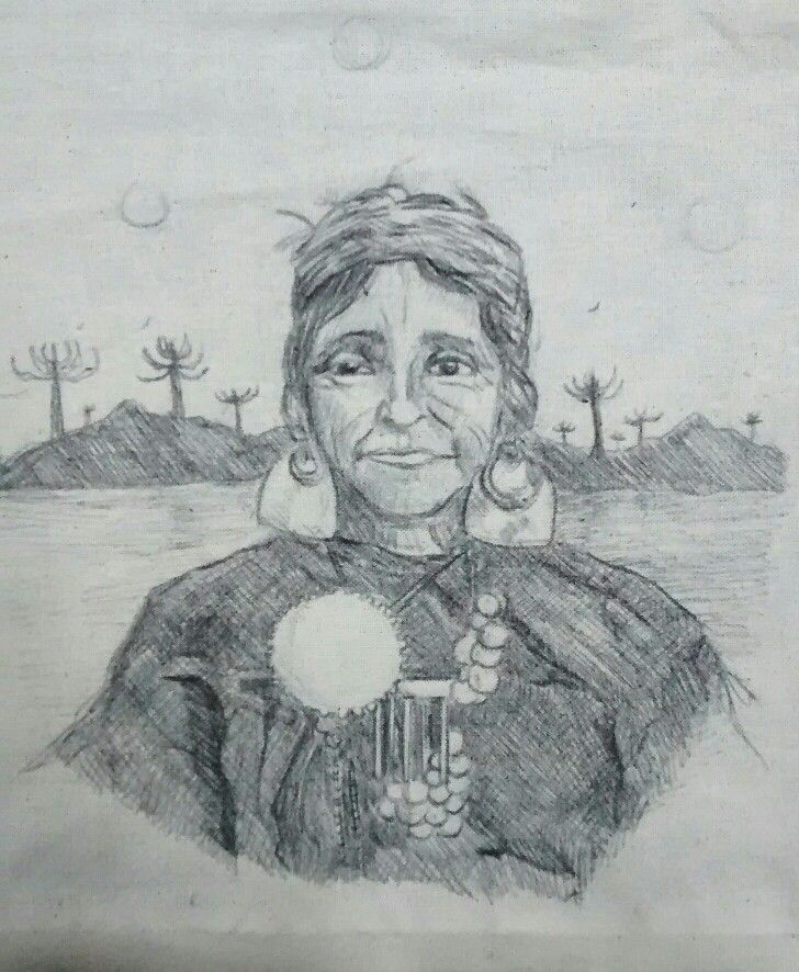 Mapuche woman Pencil on canvas