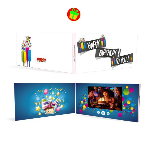 La video tarjeta Blue Party es una tarjeta para aquella persona especial que le gustan las sorpresas ya que tiene de fondo un letrero deseando un feliz cumpleaños con un contenido de pasteles, serpentinas, cornetas y globos. Medidas (cm): 20.1 x 9.6 x 0.8   Terminado: Laminado Mate   Display: LCD 5