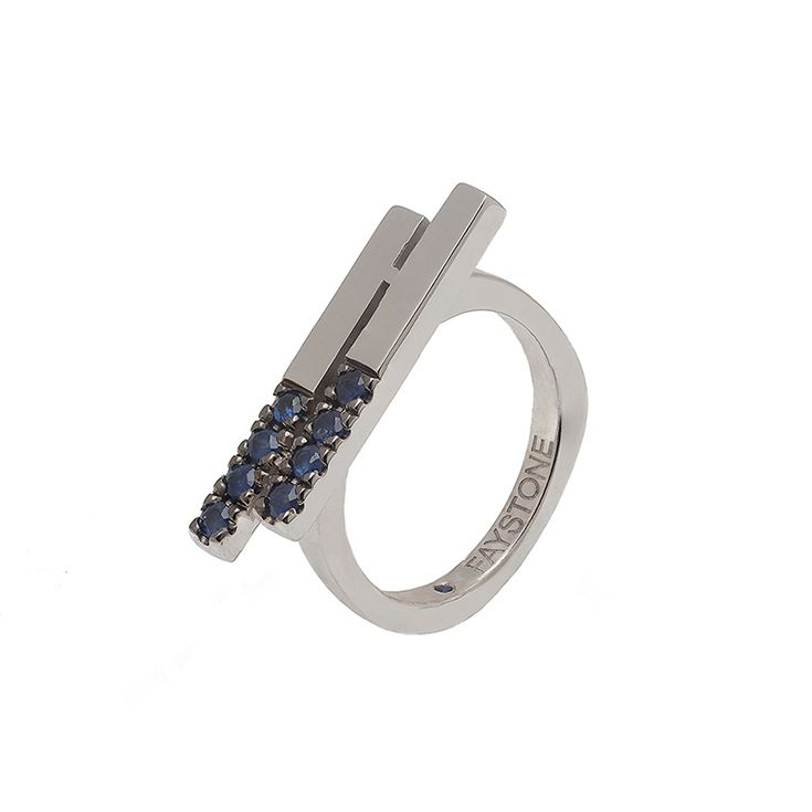 Lyra Ring | Platinum plated Sterling silver 925 ring with natural sapphires | #faystonejewels