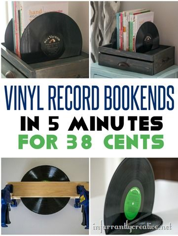 DIY Vinyl Record Bookends - These are only 38 cents to make and take less than 5 minutes!