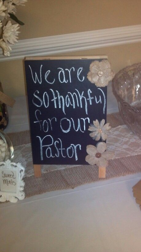Pastor Appreciation chalkboard table decor