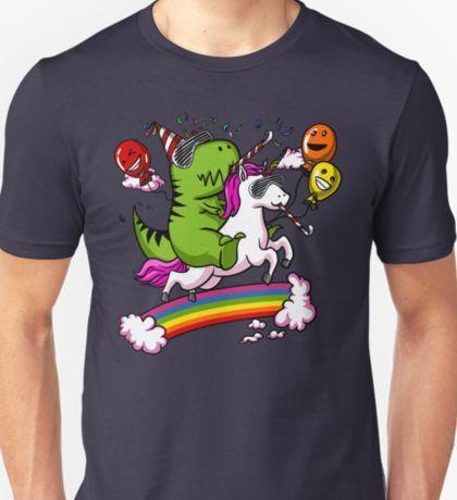 80aaf018e76 T-Rex Dinosaur Riding Unicorn Birthday Magical Rainbow T-Shirt
