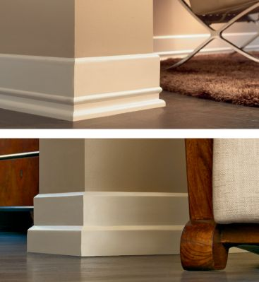 "Baseboards -- need to beef up our lame ""moderne"" single boards. Too narrow for the high ceilings. Also add crown molding."