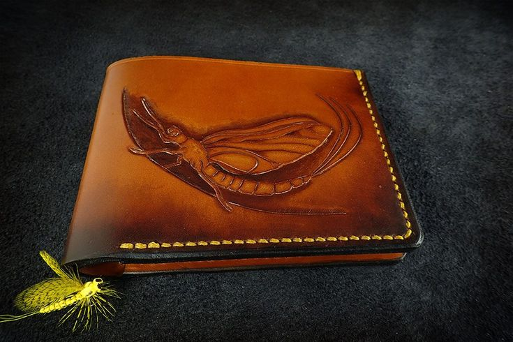 Leather carved mayfly wallet