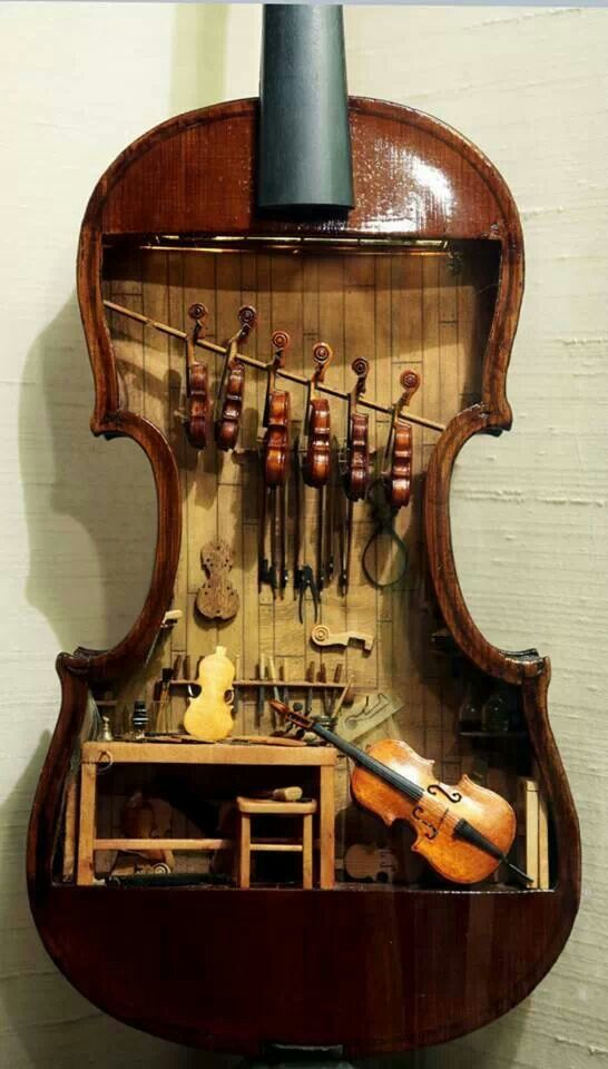 Violin shop inside a human size violin. Dolls Miniatures Z