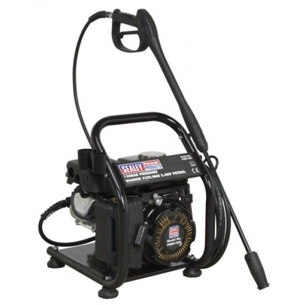 Petrol powered pressure washer with recoil starting. Suitable for commercial and domestic applications with 5mtr pressure hose, gun, lance and adjustable nozzle. Low-pressure liquid detergent injection system. Safety latch on trigger and automatic low-oil engine shutdown reduce risks of misuse and equipment damage. Unit stands on four sucker feet to prevent creep, and has integral handle. Supplied with tools and full instructions.
