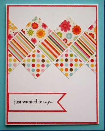 handmade card ... bright pattern of inchies on end ... delightful patternen papers in bright summery colors ... great use for coordinating paper scraps ... luv it!