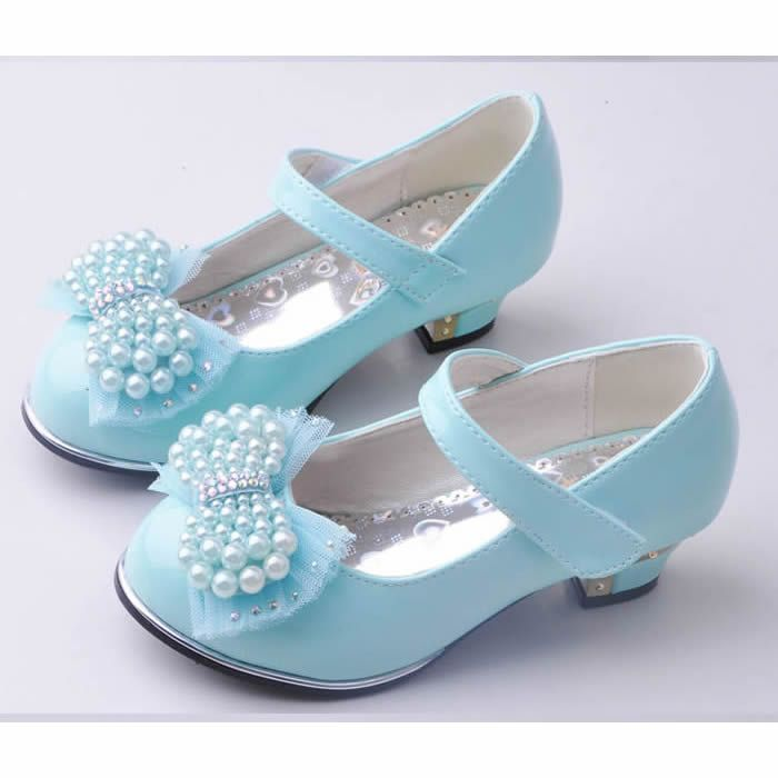 Blue Patent Leather High Heel Flower Pageant Girl Girls Dress Shoes SKU-133427
