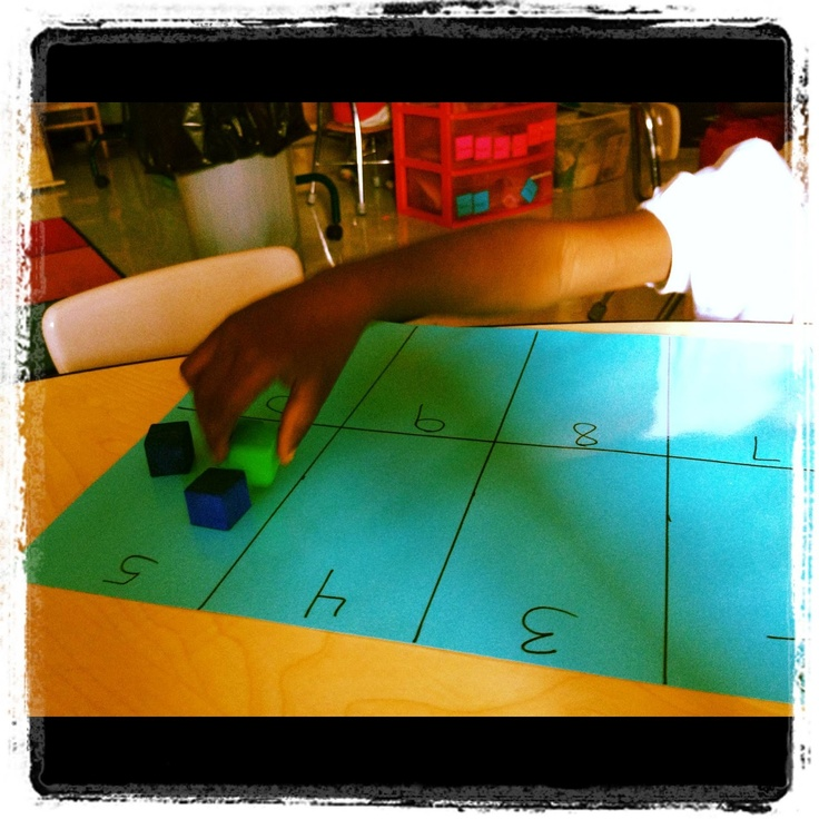 work mats great for counting and number recognition. 12 x 18 construction paper. Use index cards to draw the boxes. Number in order or random order for higher level skills. students race to match numbers. Also use for counting practice.