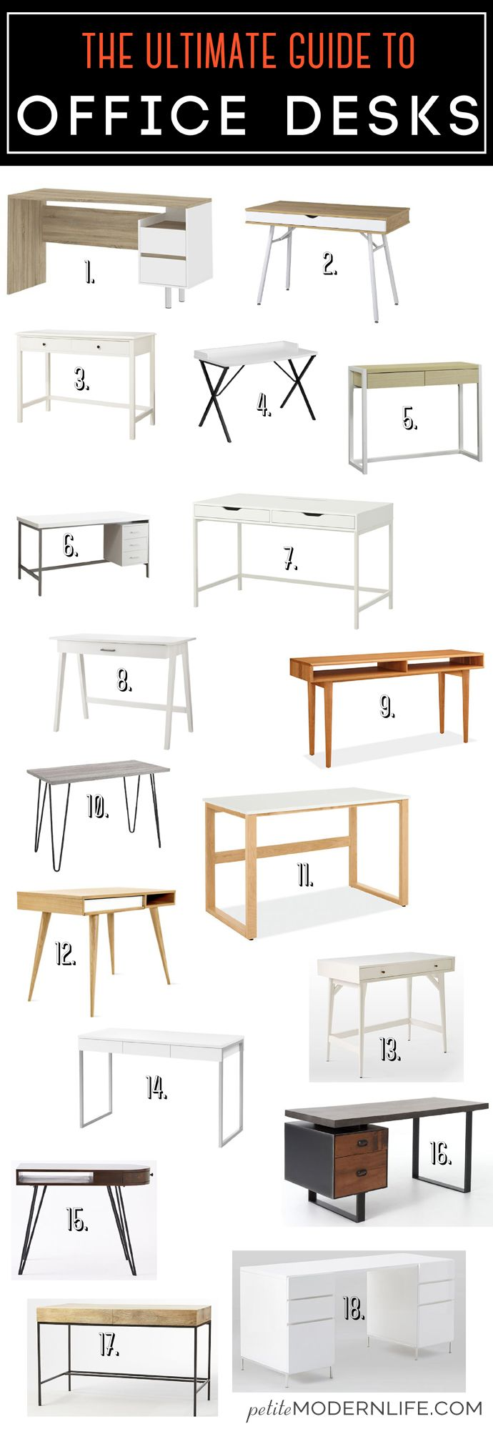 The Ultimate Guide for Modern Office Desks on Petite Modern Life: 18 styles / 5 stores / buy it / build it