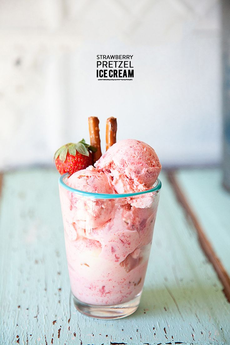 Homemade Strawberry Pretzel Ice Cream