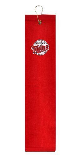 """Minnesota Twins Embroidered Tri-Fold Golf Towel by McArthur. $14.99. One Team Color 15"""" x 25"""" Embroidered Team Logo Golf Towel. 100% Sheared Cotton Velour with Double Hem. Includes Sturdy Swivel Clip for Easy Attachement. This premium weight 15"""" x 25"""" embroidered tri-fold towel, made of sheared 100% cotton velour, features a brass grommet and hook attachment and is embroidered with team trademark."""