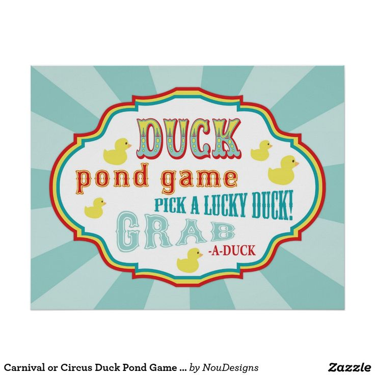 Carnival Or Circus Duck Pond Game Sign Zazzle Com