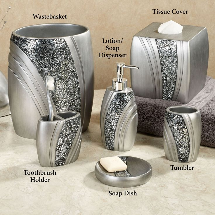 Bathroom Contemporary Silver 6 Piece Bathroom Accessory Set Have Wastebasket And Lotion Or Soap Dispenser Also Tissue Cover And Soap Dish Plus Toothbrush Holder Also Tumbler Choosing Bathroom Accessory Sets