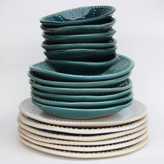 Perfect for your organic style... These beautiful dishes are hand formed from smooth stoneware clay & gazed in my Ocean Blue Ombré glaze combination. The dinner plate is Creamy White, salad plate is Robins Egg Blue and bowl is Deep Sea Blue. They are hand built from a slab of clay for a more organic feel. The rim is hand textured in my dot design with a special slip trailing technique. The glaze gently breaks away to reveal the design. These would work great for serving as well...and wil...