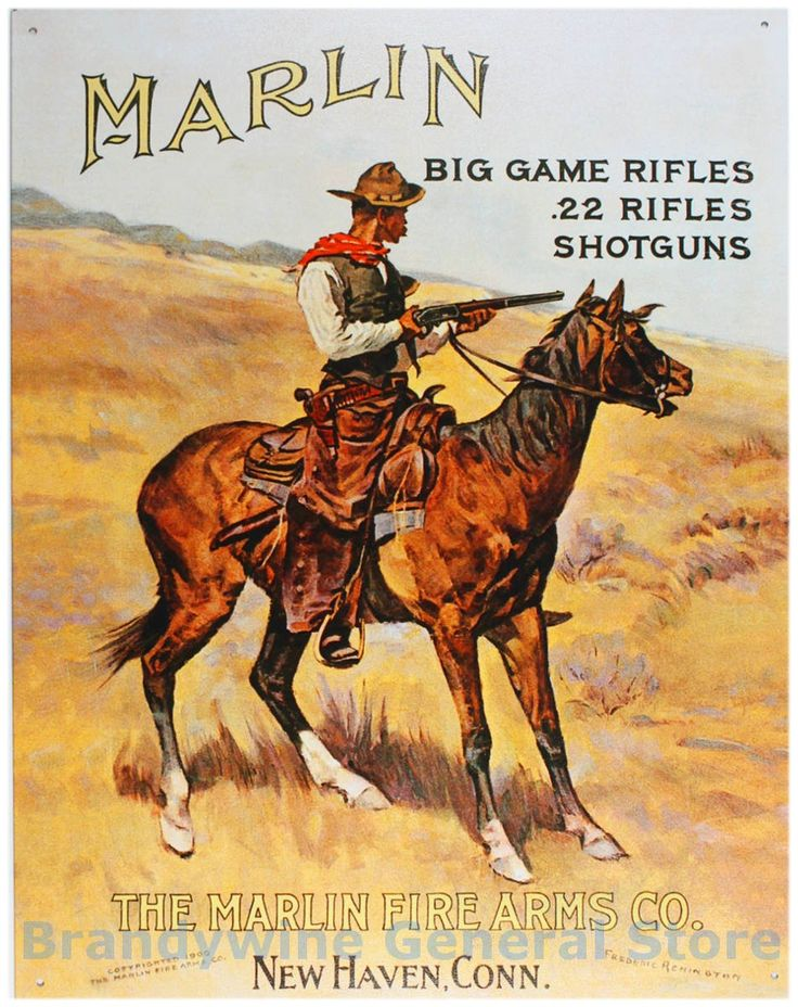 Marlin Fire Arms Company Vintage Advertising Tin Pub Sign