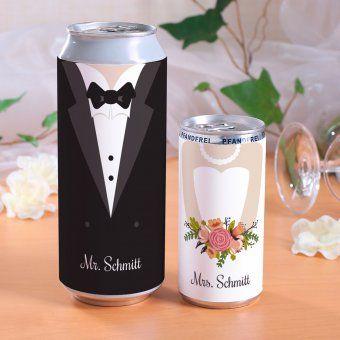 #design3000 Getränkedosen Braut & Bräutigam mit Bier und Prosecco. #wedding