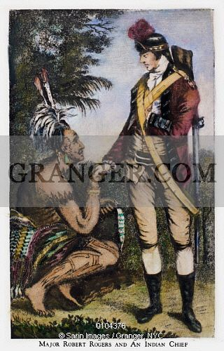 This is a Granger licensable image titled 'ROBERT ROGERS (1731-1795). American frontier soldier. Rogers with a Native American chief. Line engraving, 18th century.' by Granger, NYC All rights reserved. You may not copy, publish, or use this image except for sample layout ('comp') use only. You must purchase the image from Granger in order to use it for ANY other purpose.