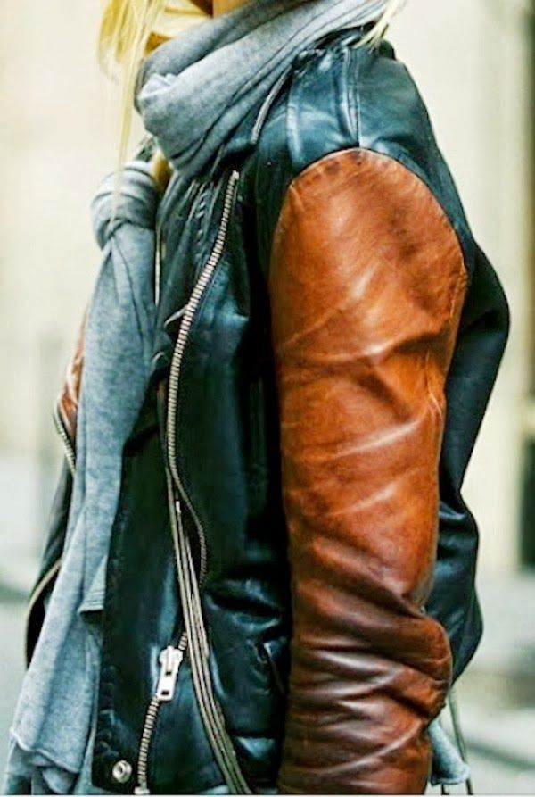 Gorgeous Black and Cognac Leather Jacket