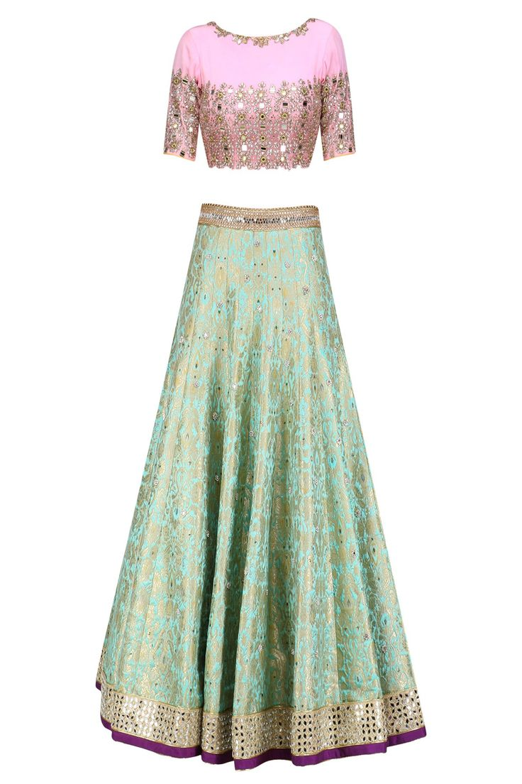 AMIT SACHDEVA Turquoise blue handwoven brocade lehenga with pink embroidered blouse available only at Pernia's Pop Up Shop.