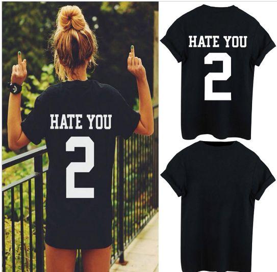 """Newest HATE YOU 2 TEE shirt tshirt top unisex Mens Womens unisex Fashion t shirt """" FREE SHIPPING """""""