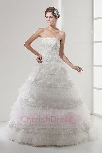 Gorgeous Princess Lace Layered Skirts Ball Gown Nice Beadwork Lace Up Back Chapel Train Wedding Dress