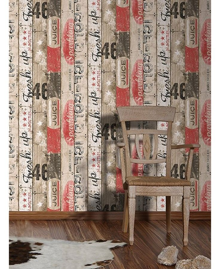 This stylish Surf Wood Panel Wallpaper would make a great feature in any room. The design features rustic wood panels in natural beige tones, with vintage style prints in black and red for a beach hut feel, and a textured wood grain effect finish