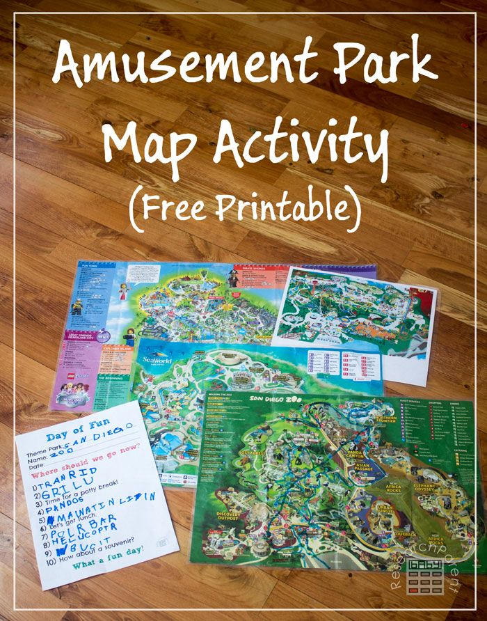 Amusement Park Map Activity - A great, educational way to use fun maps from theme parks.