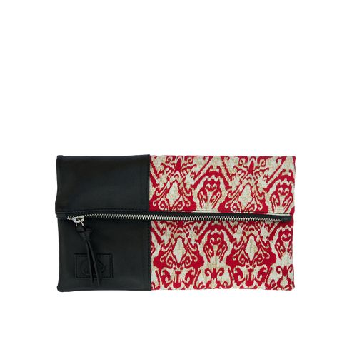 Sorayane - Leather and Red Indonesian Batik Clutch Bag
