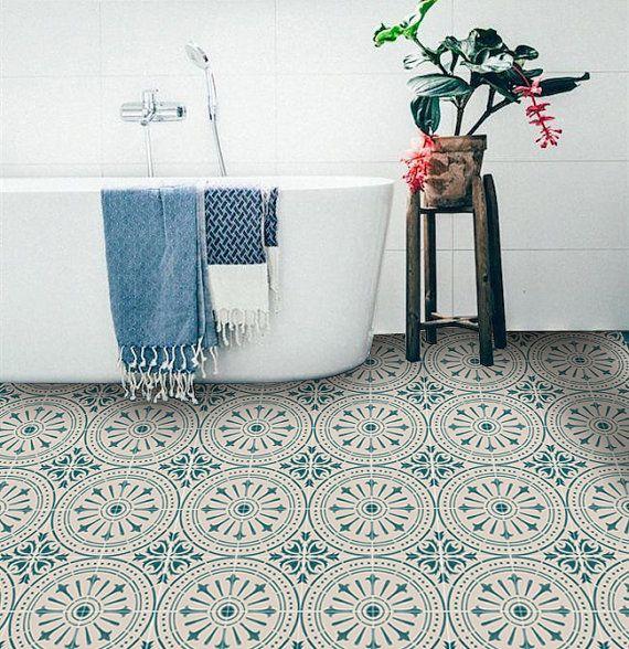 Tile Decals – Tiles for Kitchen/Bathroom Back splash – Floor decals – Hand Painted Italian Chiave Vinyl Tile Sticker Pack color Teal & Cream