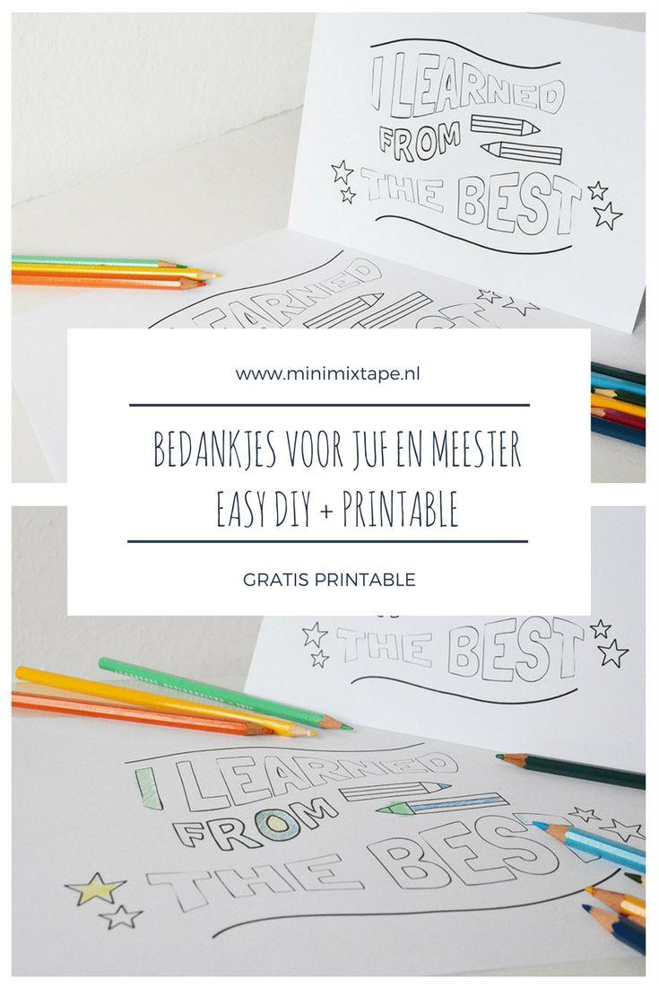 Bedankjes voor juffen en meesters, easy diy met gratis printable, afscheid juf meester peuterspeelzaal opvang