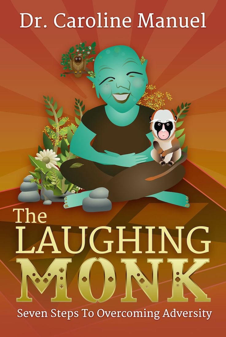 The Laughing Monk by Dr. Caroline Manuel. Book cover design by Dalitopia.