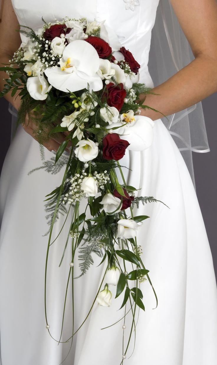 Elegant Bridal Bouquet Cascades With Roses, Orchids, And Greenery. A  Classic! Ray