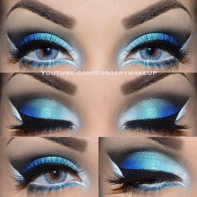 ❤️blue eyes blue makeup