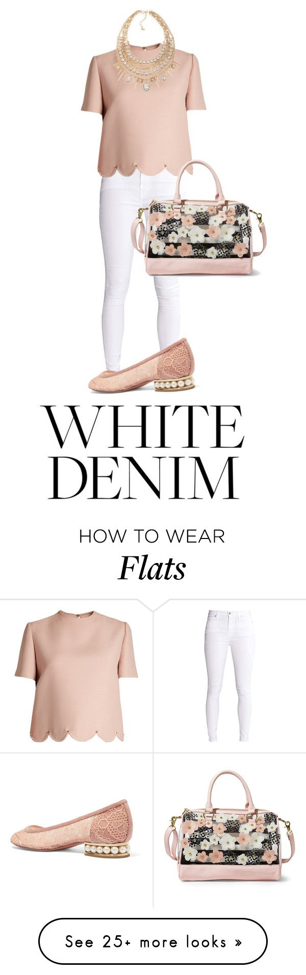 """""""Spring White Denim"""" by pastelheart1997 on Polyvore featuring Valentino, ABS by Allen Schwartz, Nicholas Kirkwood, Betsey Johnson and whitejeans"""