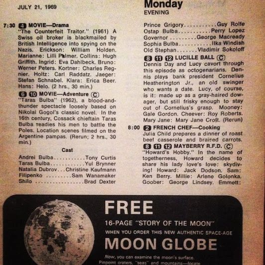 Vintage TV Guide listings for the July 1969 moon landing! #tvguide #astronaut #apollo11 #moonlanding