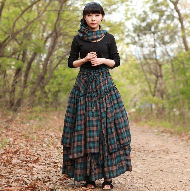 ETHNIC- Artka в Украине. Стиль boho Длинные юбки в стиле бохо с доставкой в Украину Клетчатая юбка из хлопка