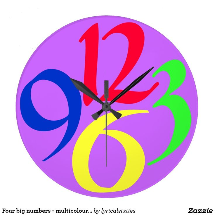 Four big numbers - multicoloured clock.  A big, round clock with just four very big and bold funky numbers, 3, 6, 9 and 12, in red, green, yellow and blue on a purple background. Bold and cool!