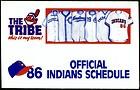 1986 CLEVELAND INDIANS WWWE RADIO 11 BASEBALL POCKET SCHEDULE FREE SHIPPING - 1986, Baseball, Cleveland, Free, Indians, Pocket, Radio, SCHEDULE, shipping, WWWE